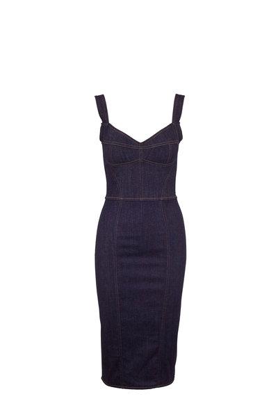 Dolce & Gabbana - Blue Stretch Denim Sleeveless Pencil Dress