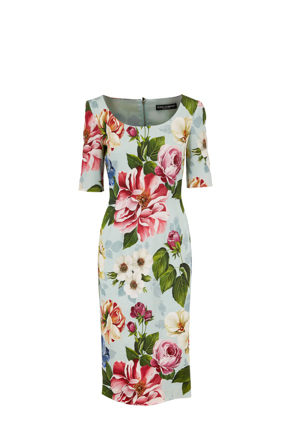 Dolce & Gabbana Light Blue Floral Print Three-Quarter Sleeve Dress