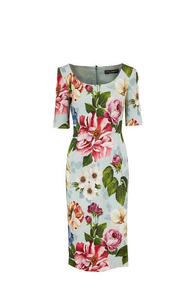 Dolce & Gabbana - Light Blue Floral Print Three-Quarter Sleeve Dress