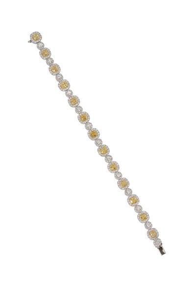 Kathleen Dughi - Gold Yellow & White Diamond Halo Bracelet