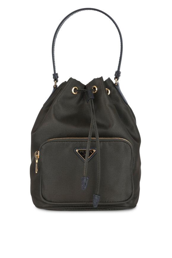 Prada Army Green Tessuto Small Bucket Bag