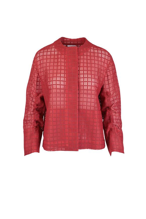Akris Punto Red Grid Mesh Jacket