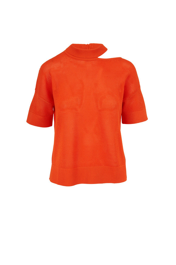 Akris Punto Tangerine Wool Knit Cut Out Shoulder Top