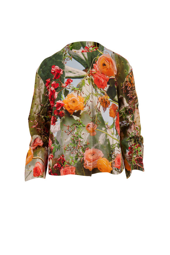 Akris Punto Cactus Blossom Print Cotton Jacket
