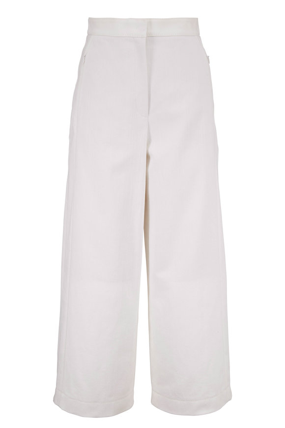 Akris Punto Cream Flat Front Wide Leg Crop Pant