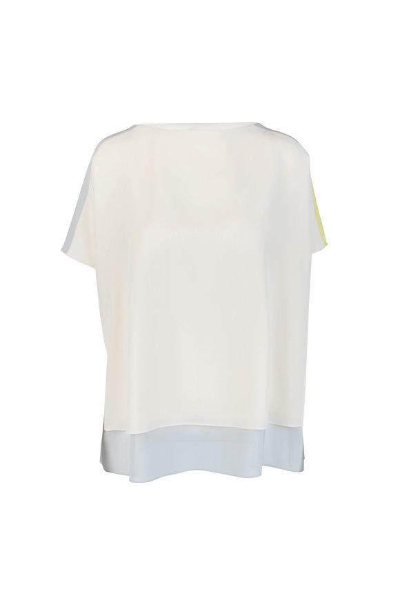 Akris Sand, Gray & Yellow Colorblock Silk Tunic