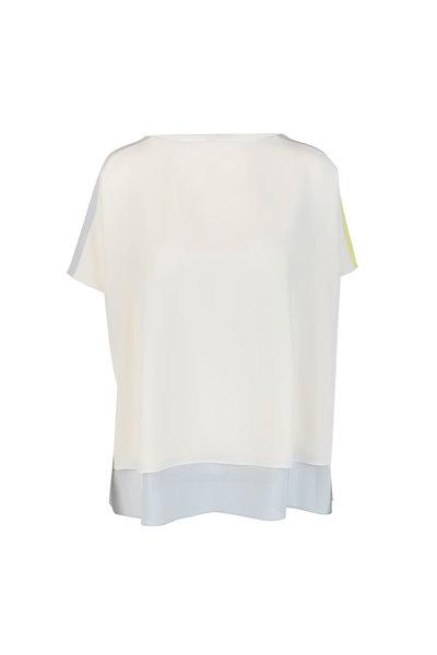 Akris - Sand, Gray & Yellow Colorblock Silk Tunic