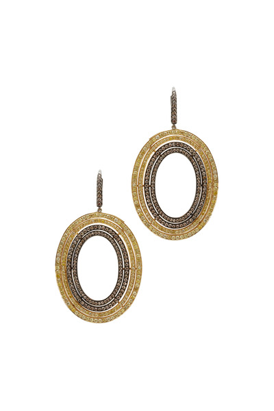 Kathleen Dughi - Yellow Gold Yellow & Cognac Diamond Earrings
