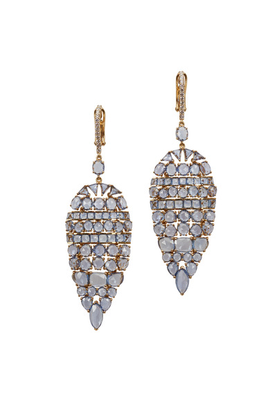 Kathleen Dughi - Yellow Gold Blue Sapphire Diamond Earrings