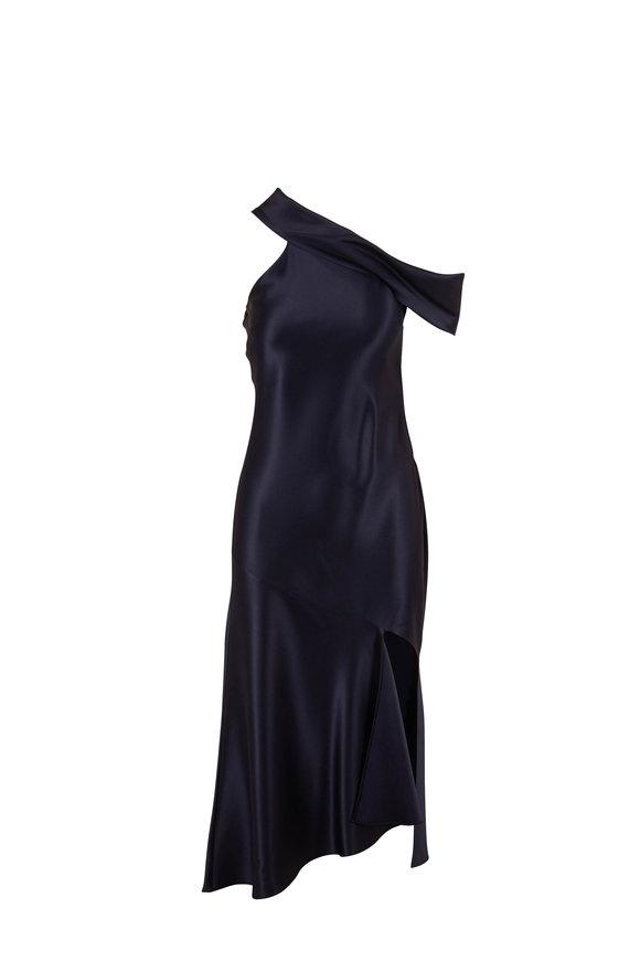 Cushnie Navy Silk Off The Shoulder Slip Dress