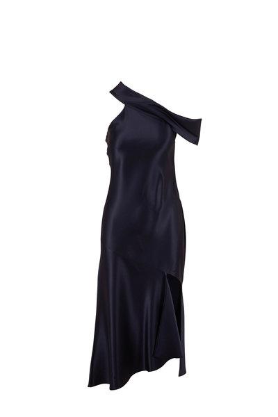 Cushnie - Navy Silk Off The Shoulder Slip Dress