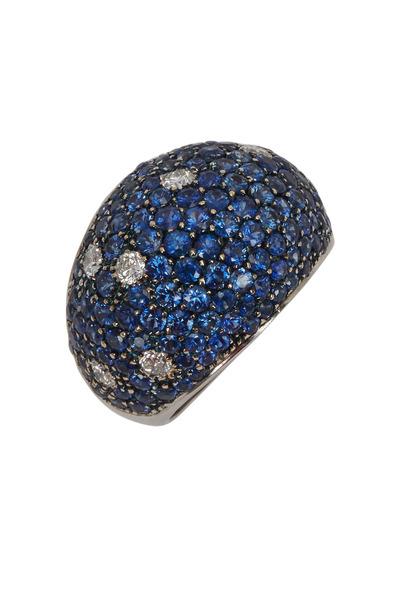 Kathleen Dughi - Costellazione Gold Pavé Blue Sapphire Diamond Ring