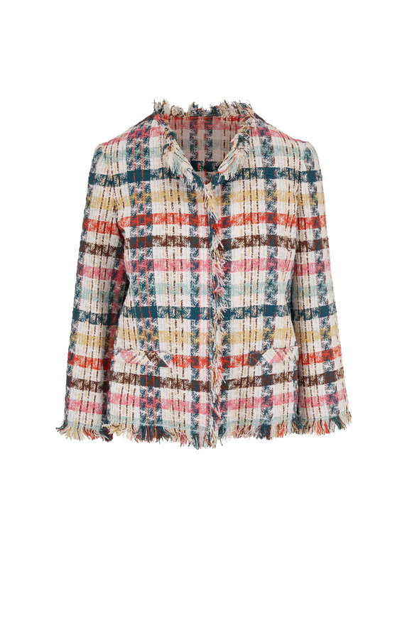 Oscar de la Renta Multicolor Tweed Fringe Trim Jacket