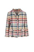 Oscar de la Renta - Multicolor Tweed Fringe Trim Jacket