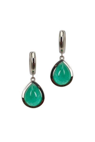Kathleen Dughi - Platinum Emerald Huggie Earrings