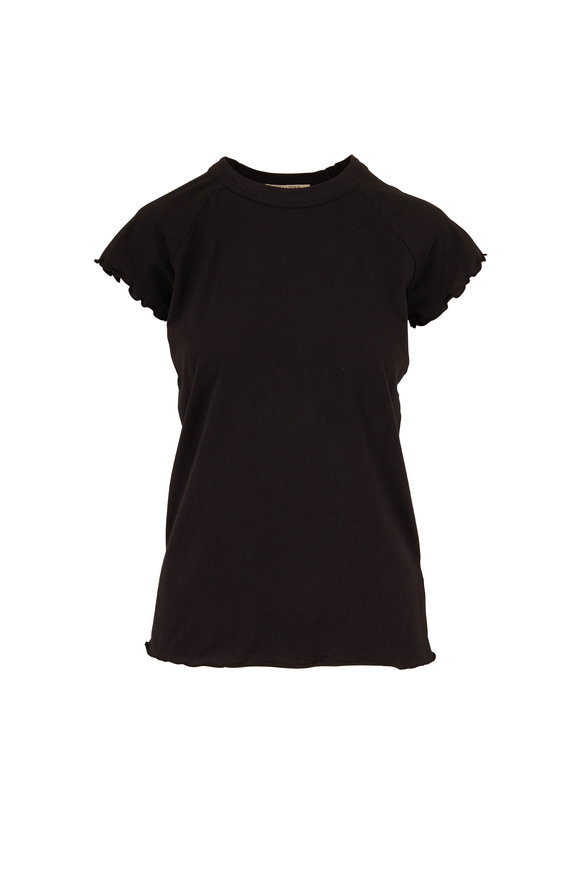 Nili Lotan Washed Black Short Sleeve Baseball T-Shirt