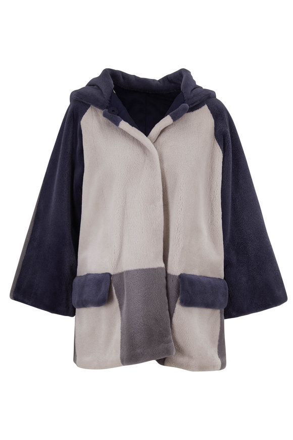 Reich Furs Gray & Navy Colorblock Mink Reversible Hooded Coat