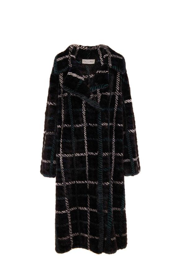 Oscar de la Renta Furs Navy Blue Intarsia Plaid Mink Coat