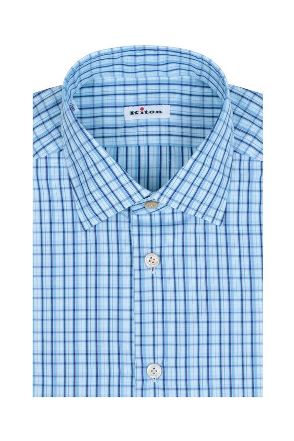 Kiton Navy & Light Blue Plaid Dress Shirt