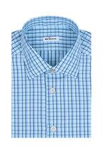 Kiton - Navy & Light Blue Plaid Dress Shirt