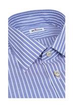 Kiton - Medium Blue & White Striped Dress Shirt