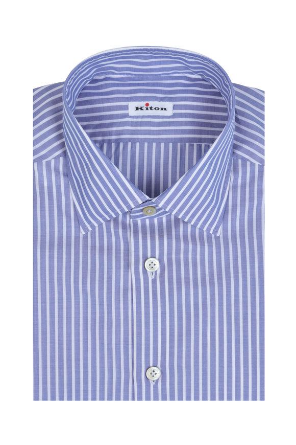 Kiton Medium Blue & White Striped Dress Shirt