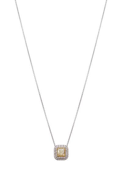 Kathleen Dughi - White & Fancy Yellow Diamond Helo Necklace