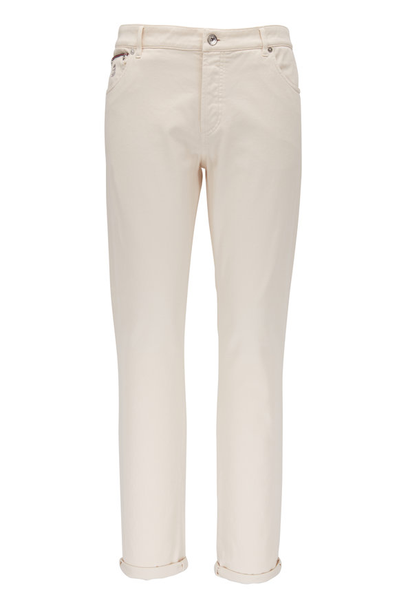 Brunello Cucinelli Off White Five Pocket Skinny Fit Jean