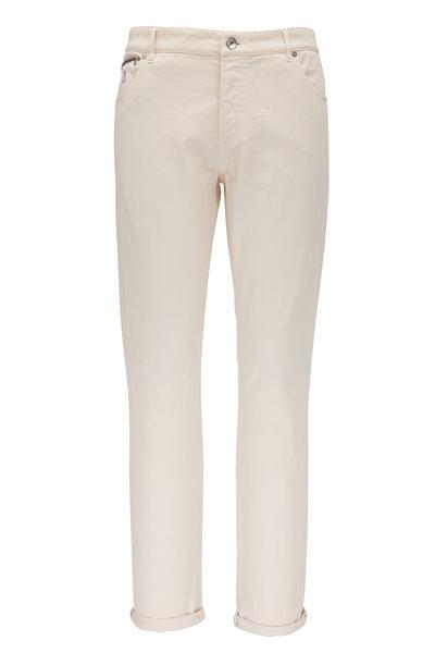 Brunello Cucinelli - Off White Five Pocket Skinny Fit Jean