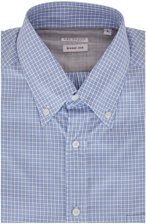 Brunello Cucinelli Blue Micro Check Basic Fit Sport Shirt