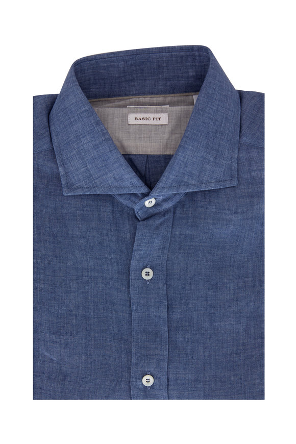 Brunello Cucinelli Blue Linen Basic Fit Sport Shirt