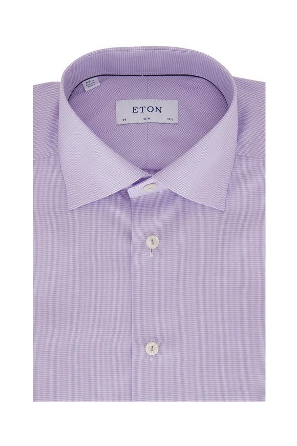 Eton Lavender Mini Houndstooth Slim Fit Dress Shirt