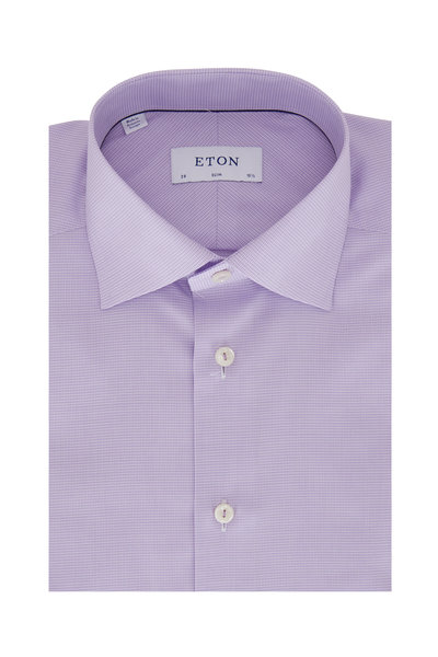 Eton - Lavender Mini Houndstooth Slim Fit Dress Shirt