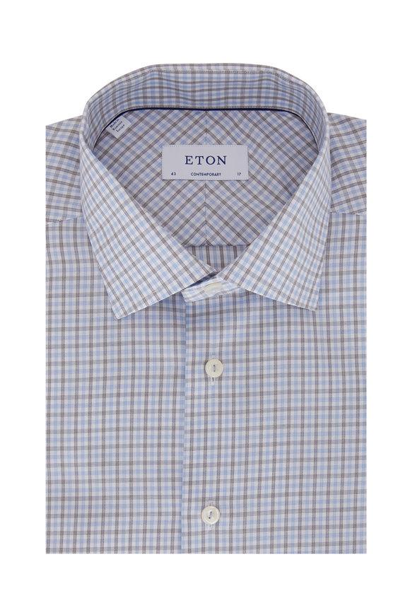 Eton Blue & Black Check Contemporary Fit Dress Shirt