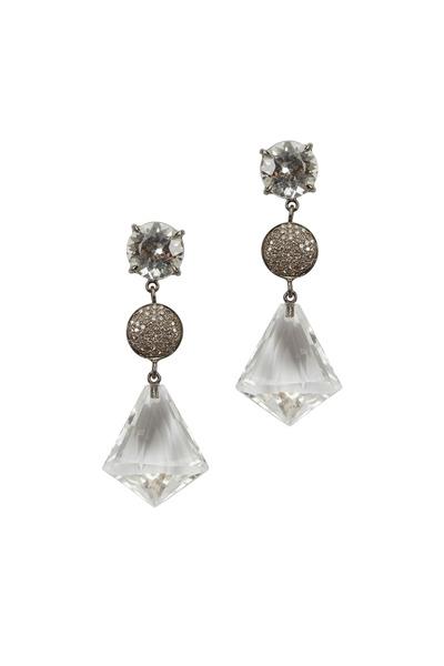 Emily & Ashley - Quartz Three Tier Diamond Dangle Earrings
