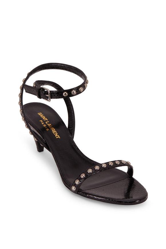 Saint Laurent Kiki Black Snakeskin Studded Sandal, 55mm