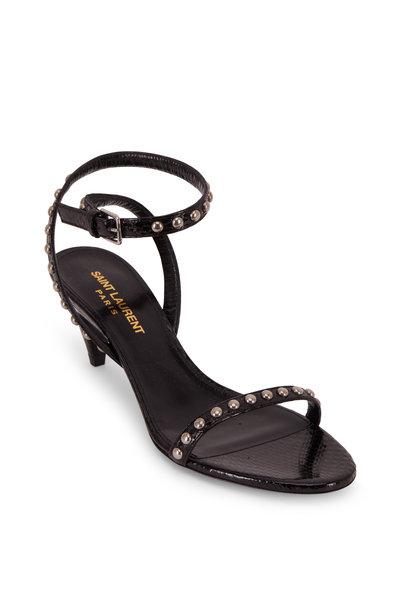 Saint Laurent - Kiki Black Snakeskin Studded Sandal, 55mm