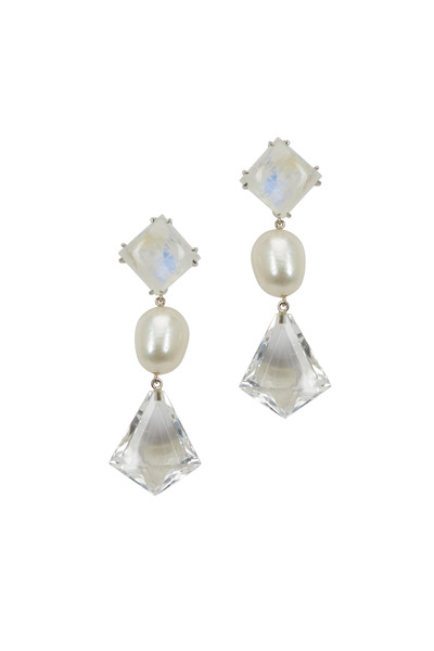 Emily & Ashley - White Gold Moonstone, Pearl & Quartz Earrings