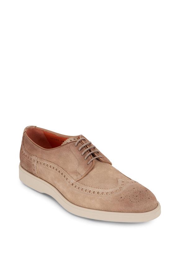 Santoni Piece Beige Suede Wingtip Buck Shoe