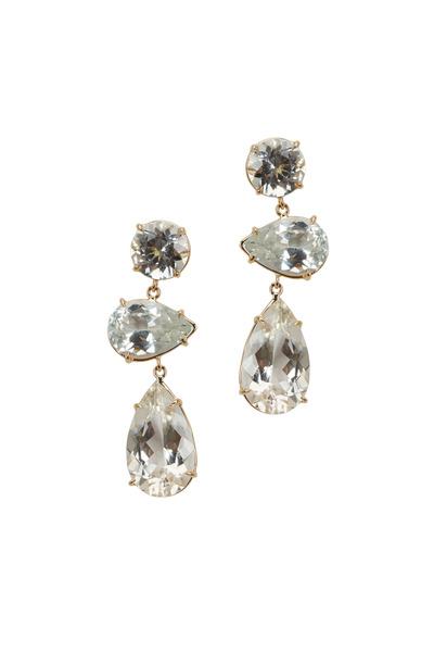 Emily & Ashley - Yellow Gold Three Tier Quartz Earrings