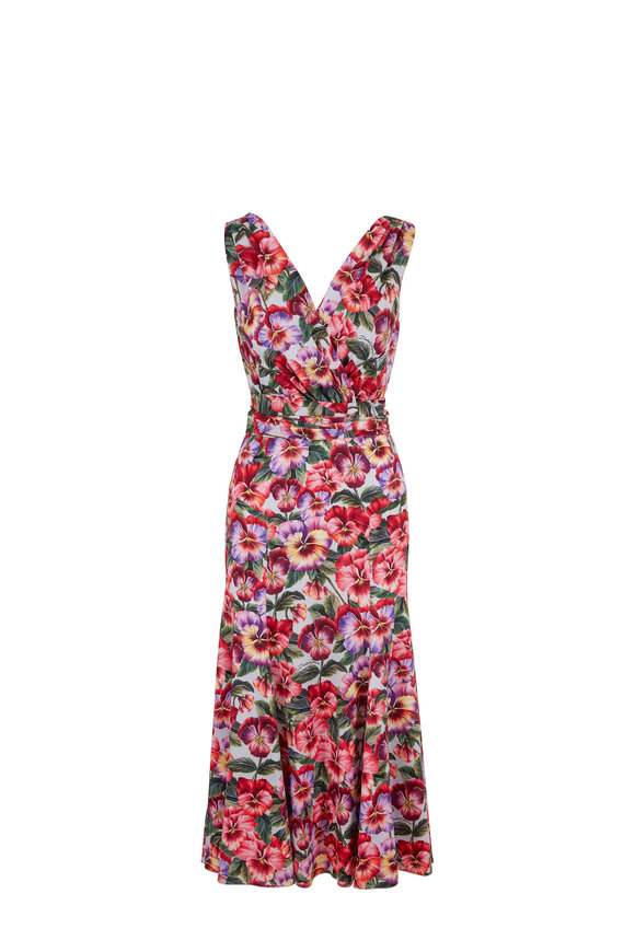 Dolce & Gabbana Violte Pink Floral Charmeuse Sleeveless Dress