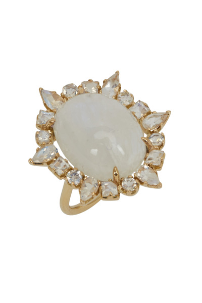 Emily & Ashley - Yellow Gold Moonstone Cocktail Ring