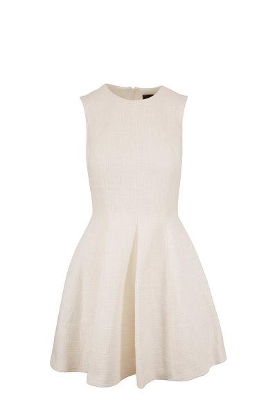 Paule Ka - White Textured Fit & Flare Sleeveless Dress