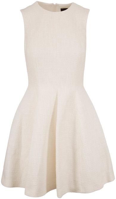 Paule Ka White Textured Fit & Flare Sleeveless Dress