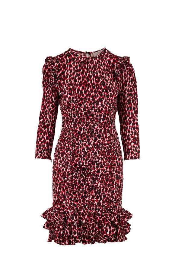 Michael Kors Collection Crimson Leopard Satin Jacquard Ruched Dress