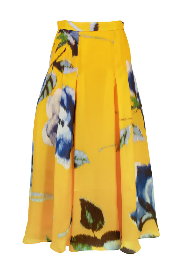 Carolina Herrera Taxi Cab Yellow Silk A-Line Box Pleat Skirt