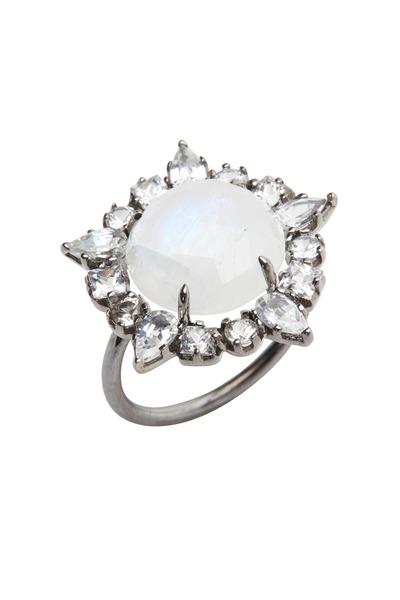 Emily & Ashley - White Gold Moonstone Ruffle Diamond Cocktail Ring