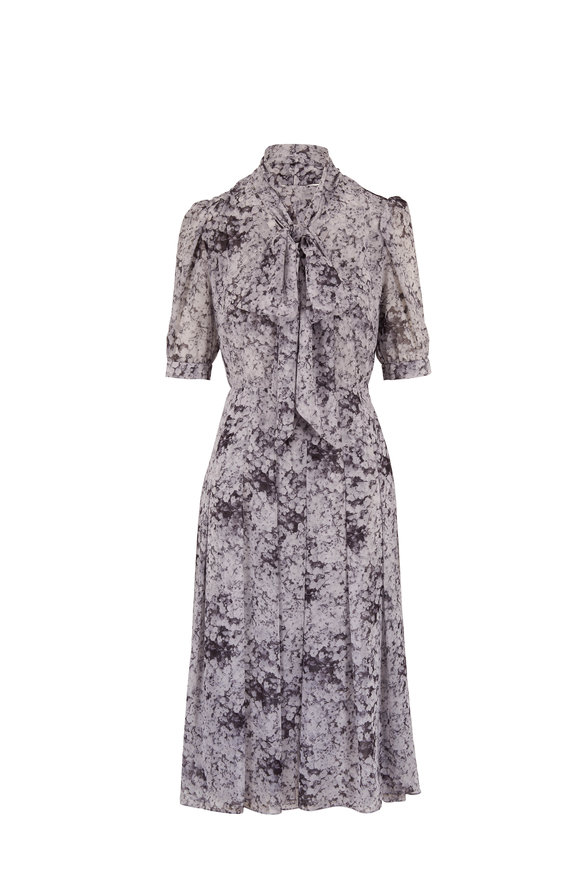 Adam Lippes Baby's Breath Chiffon Tie Neck Short Sleeve Dress