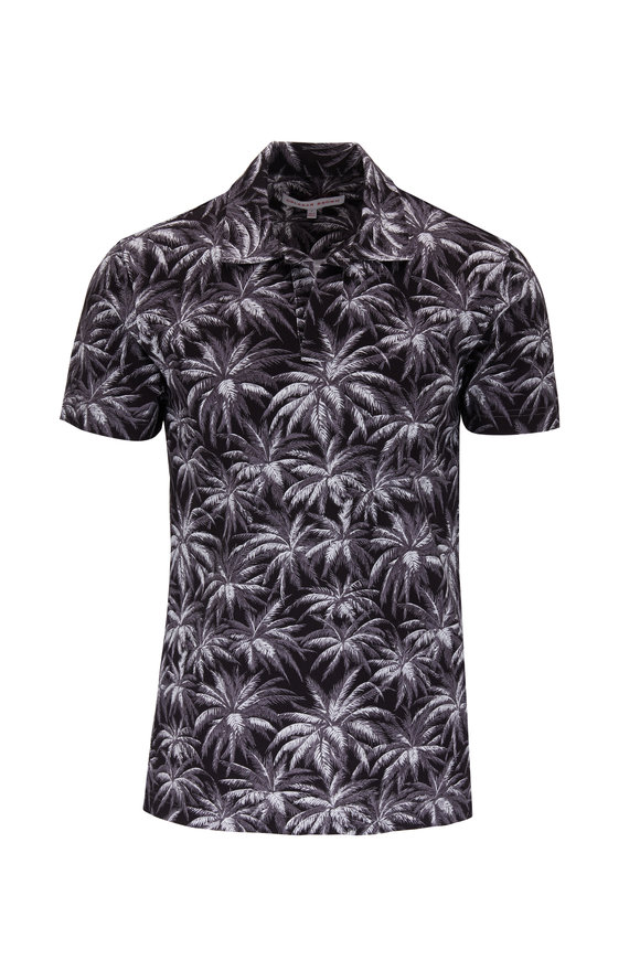 Orlebar Brown Felix Black Palm Print Resort Polo