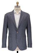 Brunello Cucinelli - Gray & White Pinstripe Linen Sportcoat